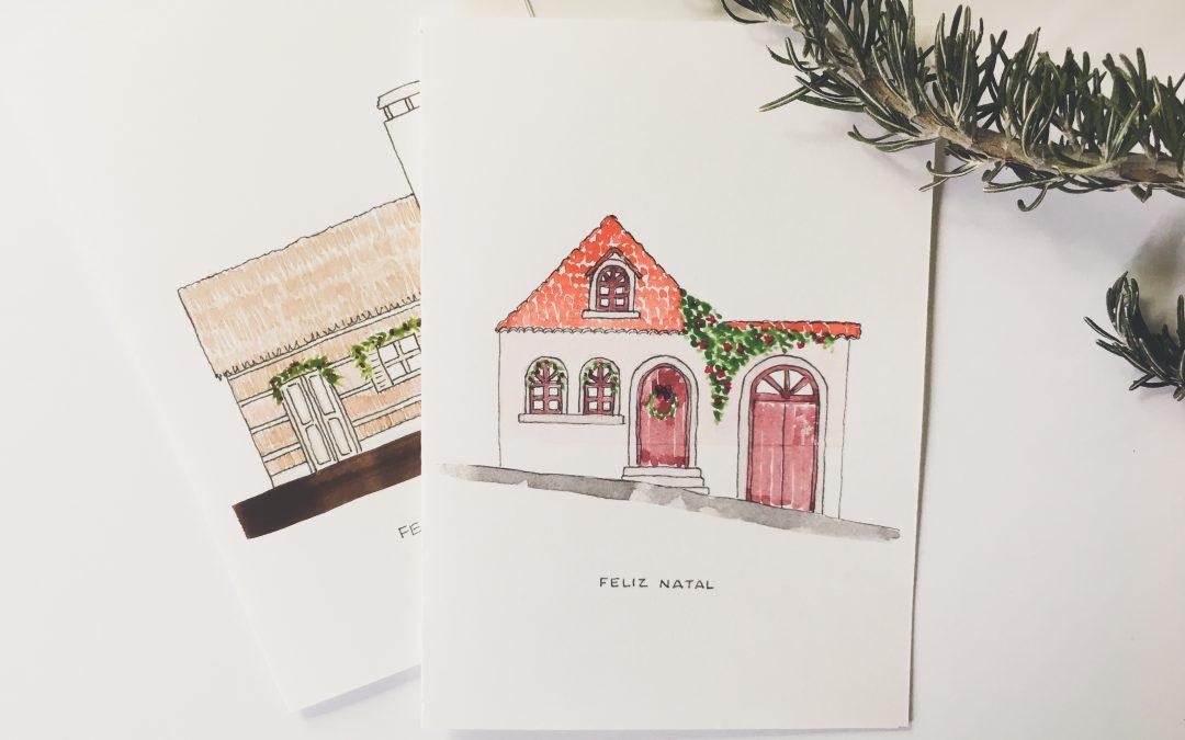 Cartões de Natal com casinhas tradicionais Portuguesas